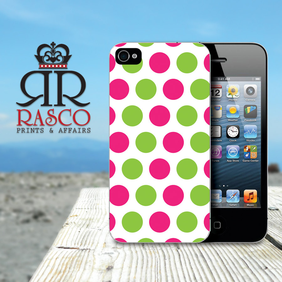 Personalized iPhone Case, iPhone 4 Case, iPhone 4s Case, Polka Dot iPhone Case